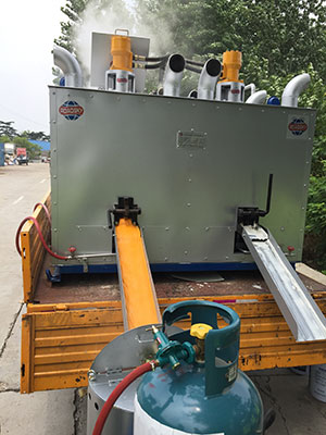 thermoplastic paint preheater working