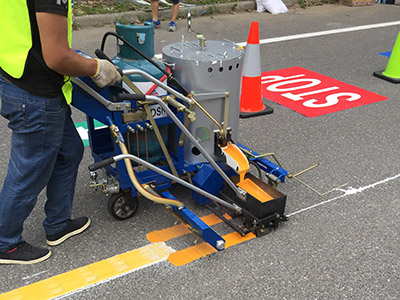 road marking machine working on-site